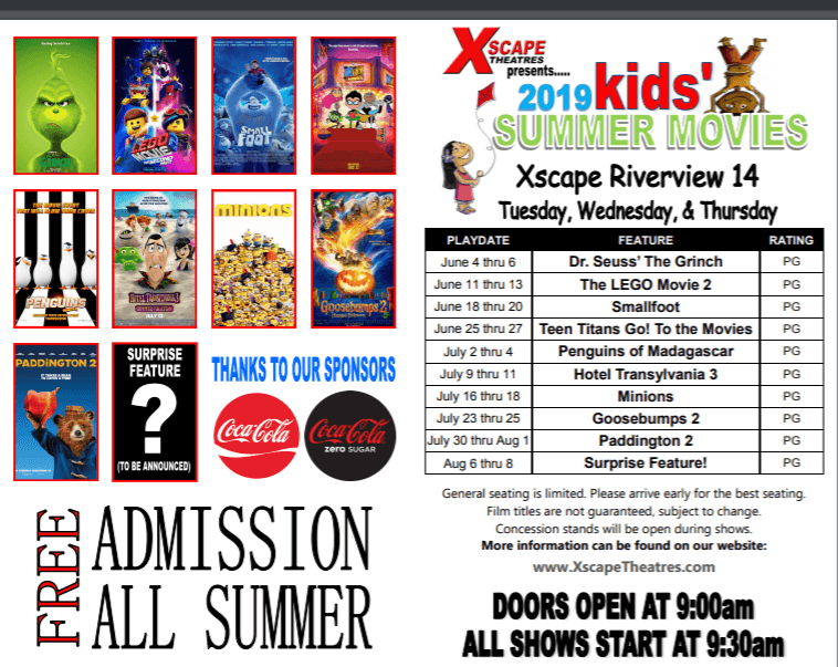 Free Summer Kids Movies at Xscape Theatres Riverview 14