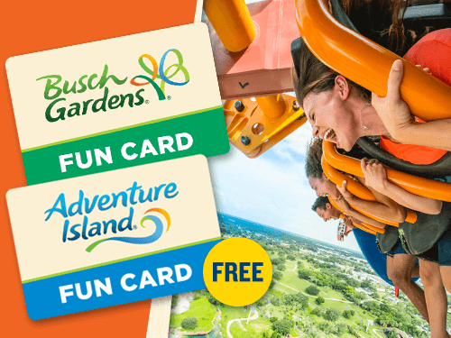 Busch Gardens 2019 Fun Card, Plus Adventure Island for FREE!
